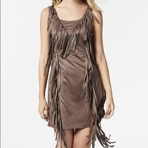 Just fab Brown Suede Fringed Dress Size: XS